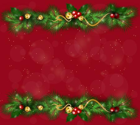 needles: Beautiful christmas background with christmas needles decoration
