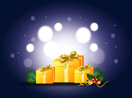 christmas gifts: Blue shining background with christmas gifts decoration