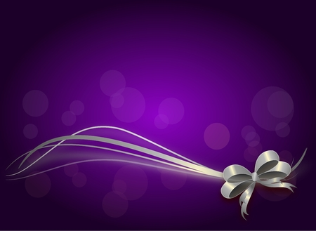 moños navideños: fondo brillante púrpura con la cinta de plata de Navidad Foto de archivo