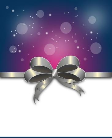 silver ribbon: Beautiful christmas card with silver ribbon illustration Stock Photo