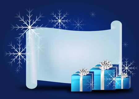 wish list: Beautiful illustration of christmas background with blank wish list and blue gifts