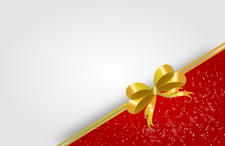 golden ribbon: Illustration of greeting card background with golden ribbon