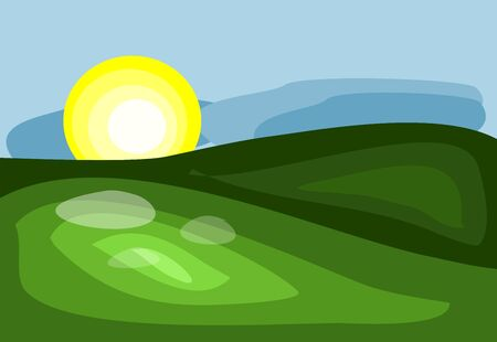green hills: Simple illustration of landscape with green hills and sun Stock Photo