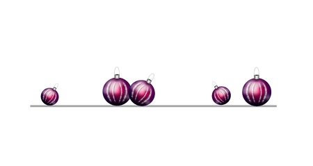 christmas bulbs: Beautiful realistic illustration of purple christmas bulbs decoration line