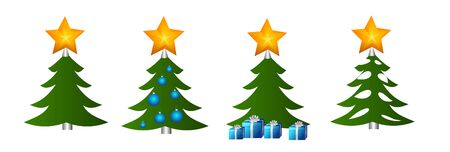 donating: Set of four illustrations of christmas trees Stock Photo