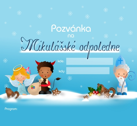 saint nicholas: Cute illustration of Saint Nicholas, angel and devil on blue snowy background as invitation to Nicholas afternoon - czech tradition Stock Photo