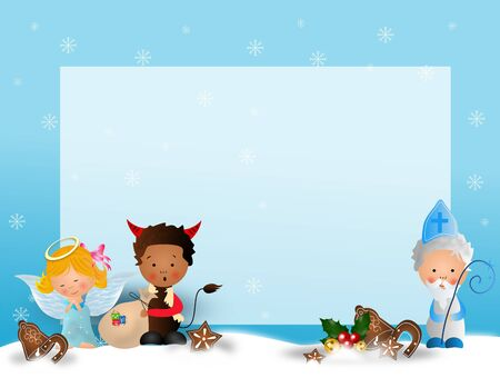 Cute illustration of Saint Nicholas, angel and devil on blue snowy background