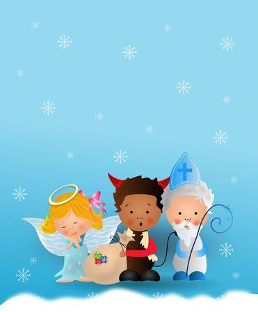 teufel engel: Nette Illustration des Heiligen Nikolaus, Engel und Teufel auf blauen schneebedeckten Hintergrund Lizenzfreie Bilder