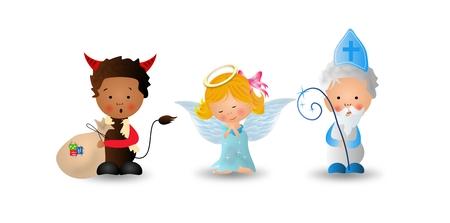 Cute illustration of Saint Nicholas, angel and devil