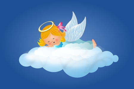 lay down: Illustration of cute sleeping small angel on cloud