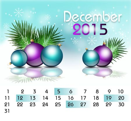 christmas bulbs: Beautiful illustration of christmas calender with christmas bulbs decoration