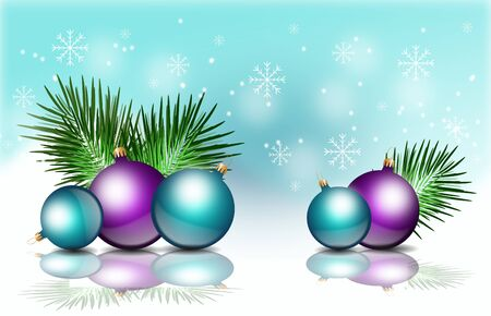 christmas bulbs: Illustration of christmas background with metalic colored christmas bulbs