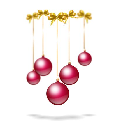 elegant backgrounds: Illustration of metalic dark pink christmas bulbs on golden ribbon
