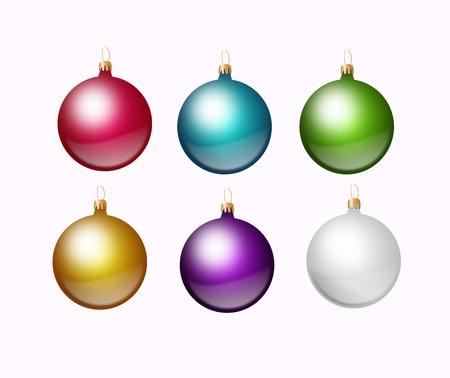metalic background: Set of metalic colored christmas bulb on white background