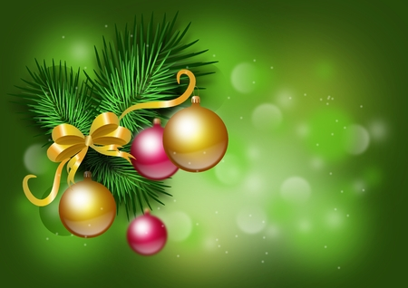 needles: Beautiful christmas background with needles and christmas bulbs