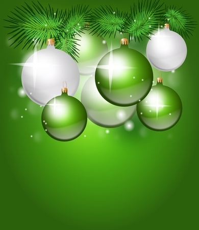 christmas party: Green christmas background with christmas decorations bulbs