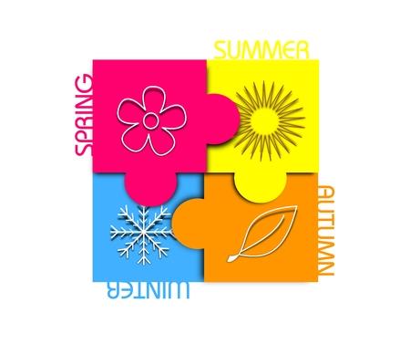 four season: Illustration of four season colorful puzzle with symbols