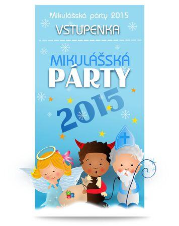 saint nicholas: Cute illustration of saint Nicholas party ticket for enter