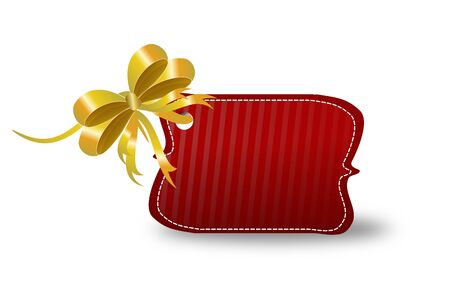 christma: Red blank christma label with golden ribbon Stock Photo
