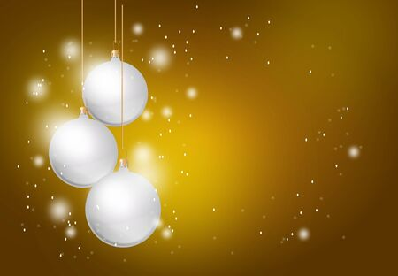 shining light: Christmas golden background with three christmas balls and shining light
