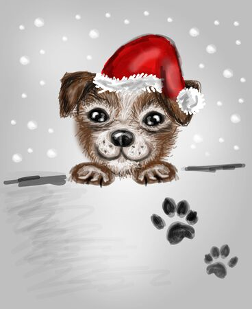 cute puppy: Cute illustration of small puppy with santa hat