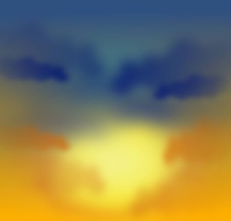 evening sky: Illustration of evening sky with sun between clouds