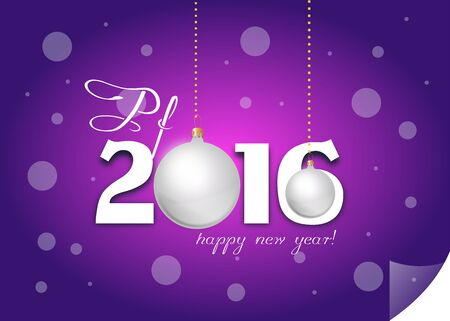 pf: Purple greeting card to new year 2016 Stock Photo