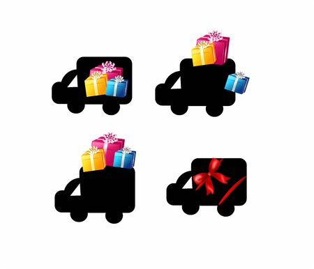 favored: Christmas icons for free transport decorated with gifts