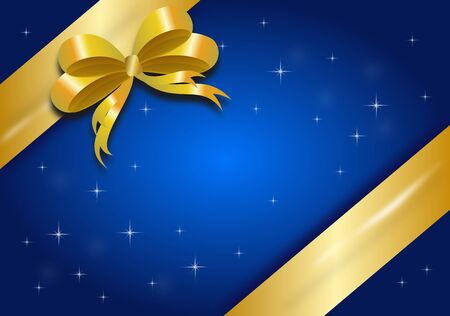 gifting: Blue background with golden ribbon suitable for gifting card