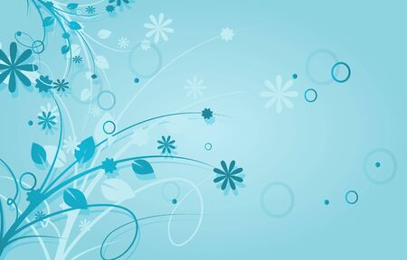 morning dew: Light blue background with floral ornaments decoration Stock Photo