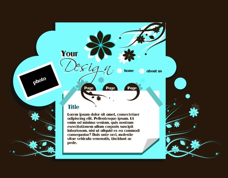 light brown: Web template in dark brown and light blue colors Illustration