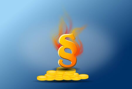 golden section: Illustration of paragraph in fire flames on golden coin on blue background Stock Photo