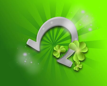 clovers: Illustration of horseshoe with green clovers on green shining background