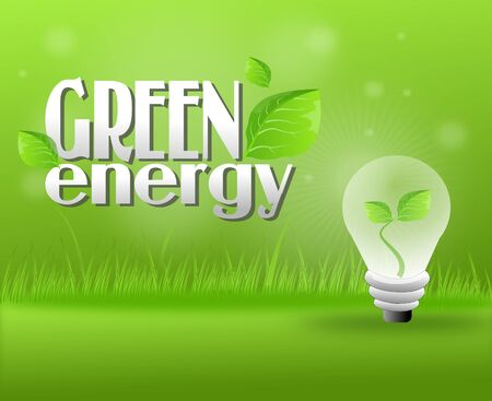 polution: Green grassy background with light bulb with leaves Stock Photo