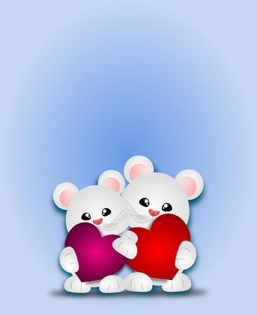 corazones azules: animales blanco lindo con la ilustración del corazón Foto de archivo