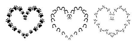 pet cat: Illustration of three hearts set of animal paws - dog, horse, bird