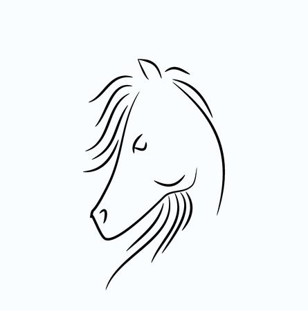 mane: Black line illustration of horse head with long mane