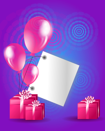 pink balloons: Colorful birthday card with pink balloons and gifts