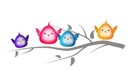 a twig: Cute colorful small birds sitting on twig of tree