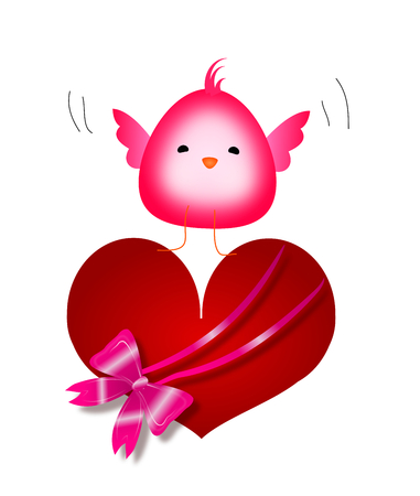 big and small: Small pink cute bird flying with big red heart decorated with pink glossy ribbon