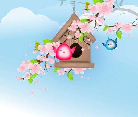 birds in a tree: Two small birds on birdhouse decorate with flowering tree illustration