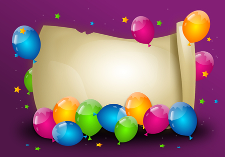 wonderful: Wonderful party background with colorful balloons and parchment Stock Photo