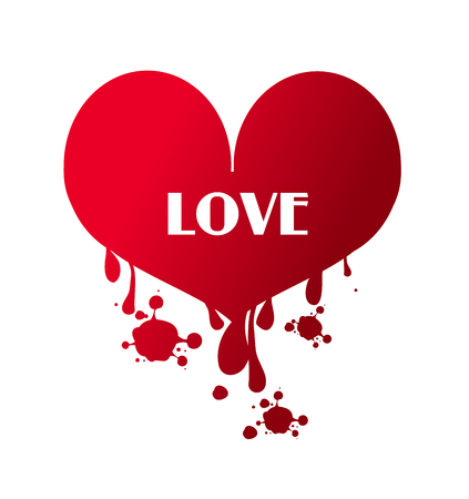 hemorragias: Ilustraci�n de la gran coraz�n sangrante rojo con el amor de texto Foto de archivo