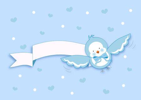 shape cub: Cute illustration of small light blue bird with white ribbon