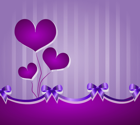 ceremonial: Ceremonial purple background with purple ribbons and hearts decoration
