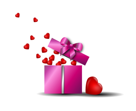 gifting: Pink valentines gifting box with small red hearts Stock Photo