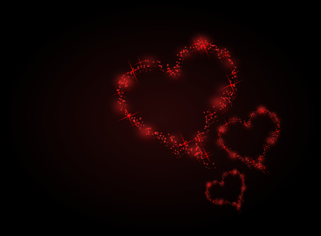 hot couple: Illustration of three red hearts on black background