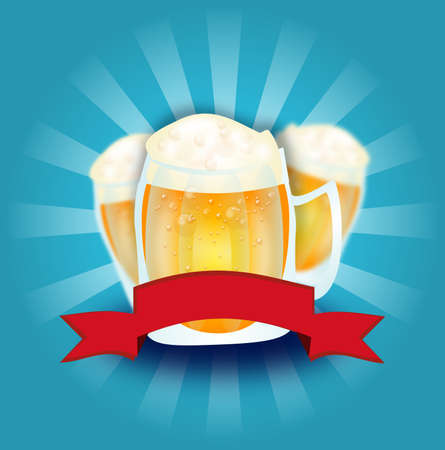 beers: Illustration of three beers on blue background with red ribbon