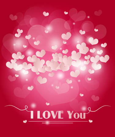 pink ribbon: Pink valentines background with small love hearts and pink ribbon Stock Photo
