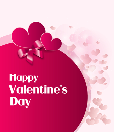 ribbon background: Pink valentines greeting card with small love hearts decoration